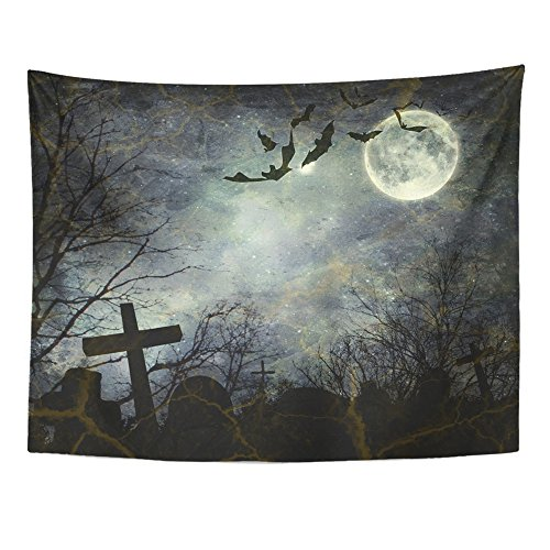 Emvency Tapestry Print 60x80 Inches Black Horror Halloween Bats Flying in The Night Full Moon Ghost Graveyard Wall Hangings Home Decor -