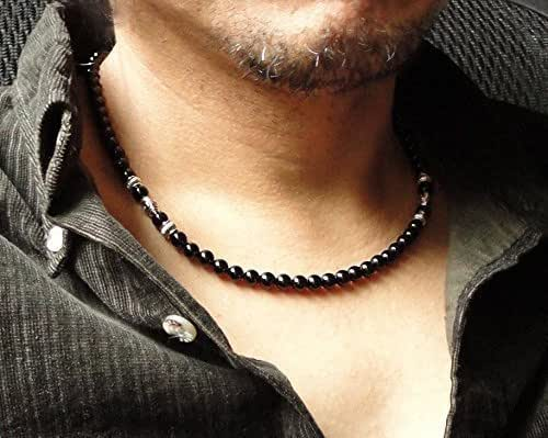 Amazon Com Mens Black Onyx Necklace 6mm High Quality