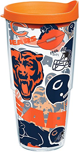Tervis 1247850 NFL Chicago Bears All Over Tumbler with Wrap and Orange Lid 24oz, Clear -