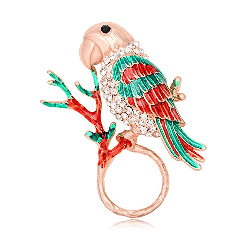 TUSHUO Natural Enamel Parrot on Tree Branch Magnetic Eyeglass Holder Parrot Birds Brooch for Animal Lover (Rose Gold) by TUSHUO (Image #1)