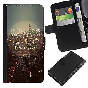 Sony Xperia Z3 D6603 / D6633 / D6643 / D6653 / D6616 , la tarjeta de Crédito Slots PU Funda de cuero Monedero caso cubierta de piel ( New York City Streets Skyline Night Lights)