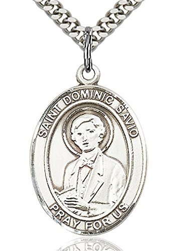 - Heartland Store Men's Sterling Silver Saint Dominic Savio Oval Medal + 24 Inch Sterling Silver Chain & Clasp