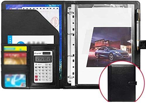 WZJN Multifunktionale A4 Leder Aktentasche Konferenzmappe komprimierte Datei Business Präsentation Veranstalter schreiben mit Solarrechner