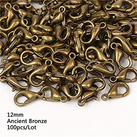 100PCS Gold Alloy Metal Claw Clasp Lobster Clasp DIY Craft Jewelry Necklace 12MM