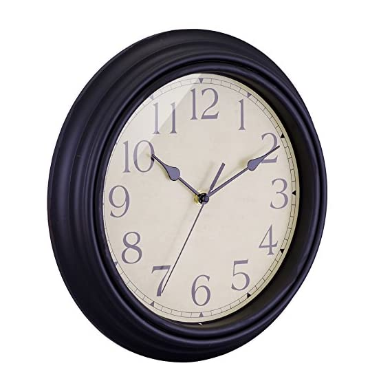 "BELIFE 12"" Vintage Arabic Numeral Design Round Wall Clock for Living Room & Home & Office Battery Operated,Black Industrial Style - NON TICKING: Quiet sweep second hand, no ticking to ensure a good sleeping or working environment CLEAR TO READ: Large numbers and clear glass lens guarantee good view, even from side BEAUTIFUL AND PRACTICAL: Shatter-proof, scratch-resistant acrylic crystal cover to ensure protection from dust and debris with sturdy plastic frame.Special and elegant design meet all your decoration need - wall-clocks, living-room-decor, living-room - 51xo pF3z%2BL. SS570  -"