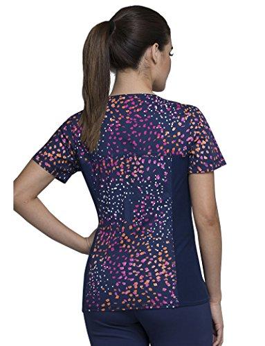 Cherokee Fashion Prints Women's V-Neck Knit Panel Abstract Print Scrub Top Xx-Large Print -