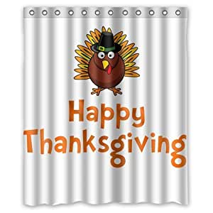 Custom thanksgiving turkey shower curtain 60 for Bathroom decor on amazon