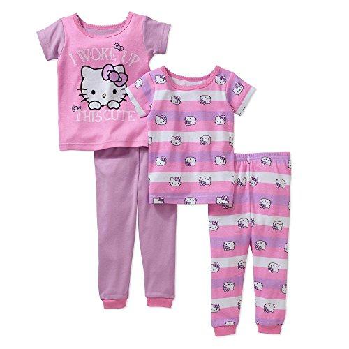 Hello Kitty Girls 4-Piece Cotton Pajama Set (Purple, 12 Month)]()