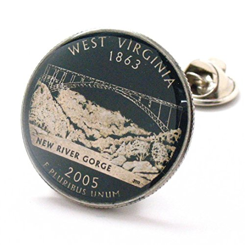 West Virginia Tie Tack Lapel Pin Suit Flag State Coin Jewelry USA United States America ()