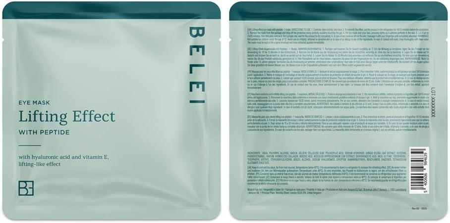 Marca Amazon - Belei Tratamiento de ojos completo, 5 mascarillas de hidrogel antigoteo para ojos (revitalizante, lifting e hidratante, iluminadora, ...