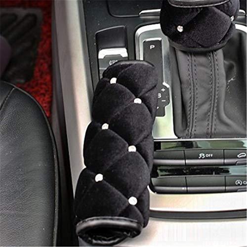XiangTiao Car Interior Accessories Girls Black Rhinestone Plush Steering Wheel Cover Neck Rest Pillow Seatbelt Cover Shifter H Brake H Brake