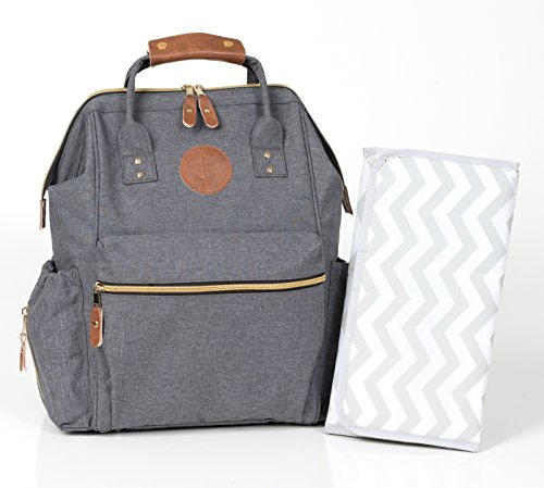 Dispenser Custom Panel (Diaper Bag Backpack by Anchored East - Designer Multi-Function Water Resistant Travel Nappy - Large Durable Baby Bag w/ Insulated Pocket - Stylish Changing Mat Back Padding & Stroller Straps - Grey)