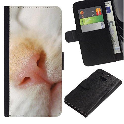 EuroCase - HTC One M8 - cat nose shorthair cute kitten snout - Cuero PU Delgado caso cubierta Shell Armor Funda Case Cover