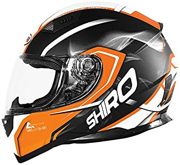 Shiro casco, Motegi BLACK-ORANGE, tamaño S