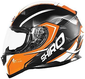 Shiro casco, Motegi BLACK-ORANGE, tamaño S