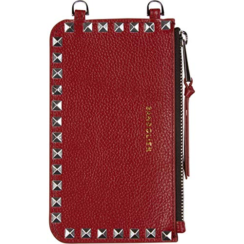 Bandolier [Sarah] Pouch Purse Add-On Attachment for Bandolier Crossbody Phone Case. Crimson Red Leather & Luxury Silver Hardware. Slim Multi Purpose Travel Friendly Holder for Passport, Keys, ()