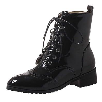 e57c1060cf02 Artfaerie Women s Lace Up Falt Patent Leather Ankle Boots with Faux Fur  Winter Warm Booties(