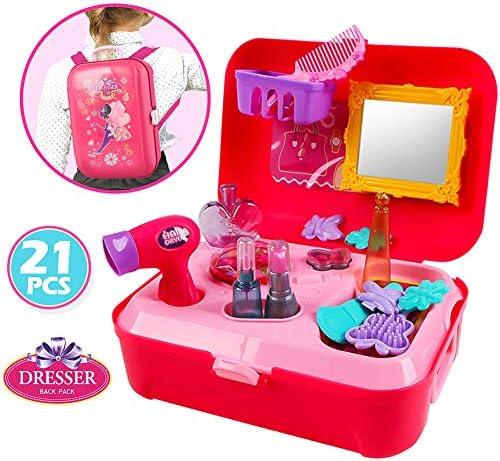Buyger 21 Stücke Kunststoff Make-up-Zubehör Set Schminkset Schminktisch Schminkkoffer Kosmetik Kinder Geschenk Mädchen Prinzessin 3+ Jahre Rollenspiel Spielzeug Rucksack