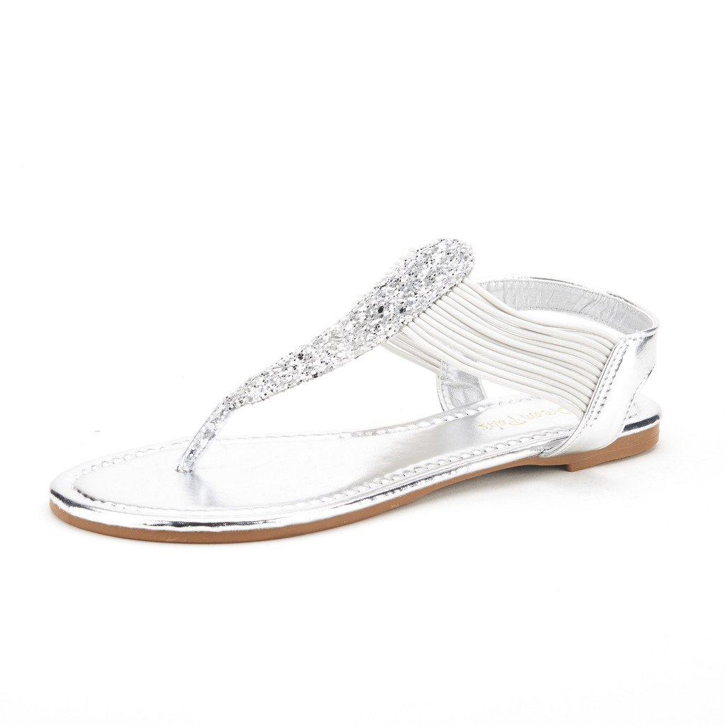 DREAM PAIRS SPPARKLY Women's Elastic Strappy String Thong Ankle Strap Summer Gladiator Sandals Silver Size 9