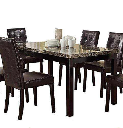 Benzara BM171261 Slick Finish Faux Marble & Pine Wood Dining Table, - Table Finish Dining Pine