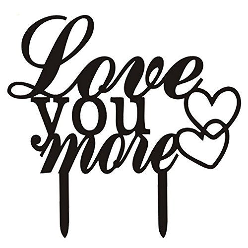 Ecape Acrylic Wedding Cake Toppers Love You More Cake Toppers Cake Decoration Black Pack of 1 (Words Cake Topper)