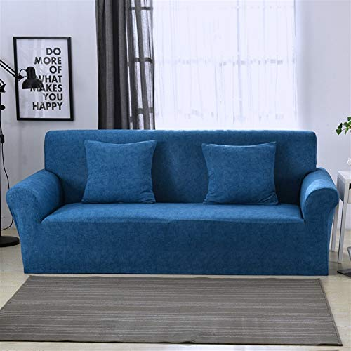 Chickle Soft Polyester Spandex Stretch Sofa Cover Loveseat Couch Slipcover Deep Blue Loveseat 57-71 in
