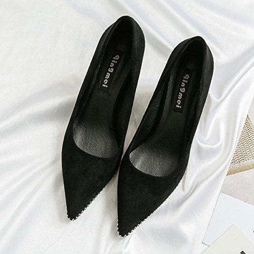 Femmes Suede Sexy Lunettes En Forme De Talon Talons Hauts Summer Travail Pompes De Mariage Dames Beaux Bout Pointu Chaussures Black VrVDWhfPg