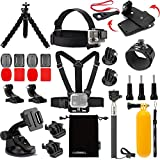 Luxebell Accessories Kit for AKASO EK5000 EK7000 4K WIFI Action Camera Gopro Hero 6 5/Session 5/Hero 4/3+/3/2/1 Fusion (14 Items)
