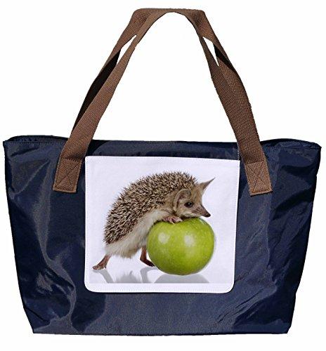 Motivo A 43x33cm Blu Shopper Navy Bag Nylon In Davanti Riccio Tracolla Tote Mela Taglia Borsa A Una Tracolla Bag Te Tote Tira 01 n6ORn