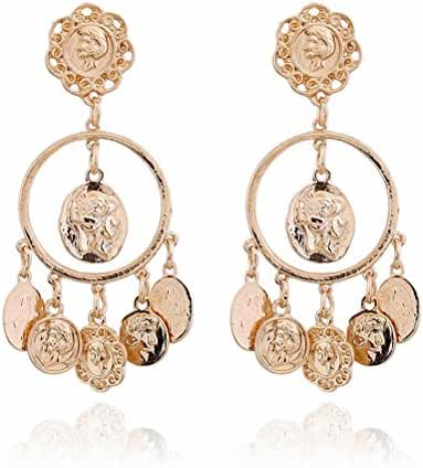 megko Gold Plated Round Circle Earrings Coin Tassel Drop Earring for Women