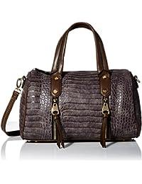 Crocodile-Embossed Bowler Bag