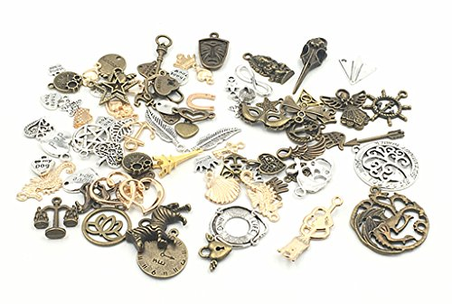 Kinteshun Alloy Randomly Mixed Multistyle Wholesale punk Charm Pendant Connector for DIY Jewelry Making Accessaries(100 Grams(about 100pcs),Assorted (Mixed Jewelry)