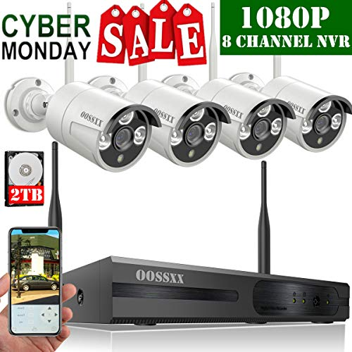 Security Surveillance Camera Set - 【2019 Update】 OOSSXX 8-Channel HD 1080P Wireless Security Camera System,4Pcs 1080P 2.0 Megapixel Wireless Indoor/Outdoor IR Bullet IP Cameras,P2P,App, HDMI Cord & 2TB HDD Pre-Install