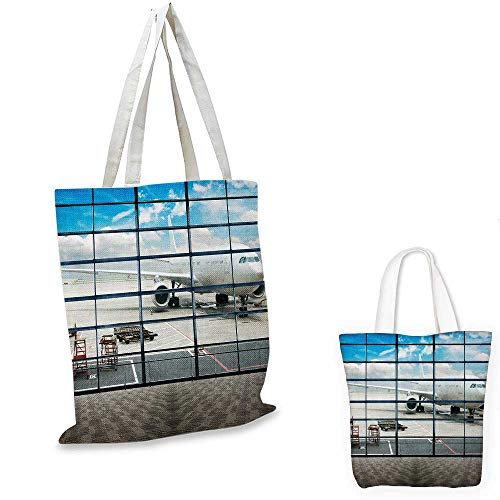 - Modern canvas messenger bag China Shangai Airport with Big Jet Plane Wanderlust Traveller Photograph canvas beach bag White and Sky Blue. 12