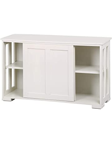 Yaheetech Antique White Buffet Cabinet Kitchen Table With Sliding Door Stackable Sideboard Storage