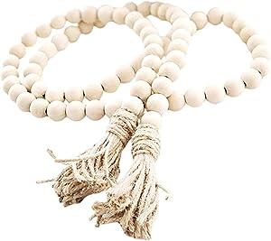EasyBravo 57 Inch Wood Bead Garland with Tassels, Rustic Farmhouse Beads Wall Hanging Prayer Beads