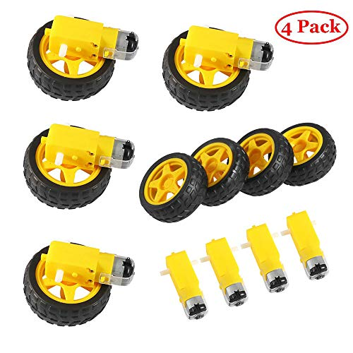 Aokin 4PCs DC Electric Motor with 4Pcs Plastic Toy Car Tire Wheel, 3-6V Dual Shaft Geared TT Magnetic Gearbox Engine