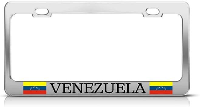 VENEZUELA FLAG WHITE Metal License Plate Frame VENEZUELAN AUTO SUV Tag Border