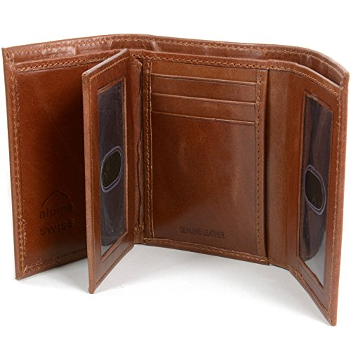 Mens Brown Trifold Wallet Extra Capacity 10 Inside Slots 2 ID Windows By Alpine Swiss (2 Wallet Slot)