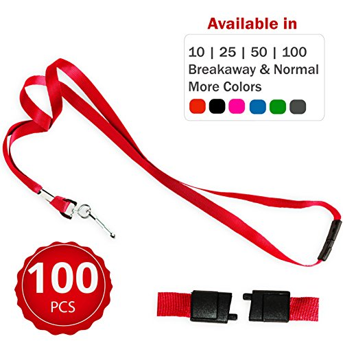 Durably Woven Lanyards with Safety Breakaway ~Premium Quality, Smoothly Finished for Skin-friendly Comfort~ For Moms, Teachers, Tours, Events, Cruises & More (100 Pack, Red) by Stationery King
