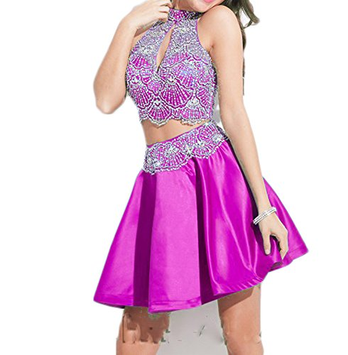 Beaded Short High Fuchsia 2 Dresses Chupeng Party Lace Neck Women's Piece Homecoming q0aFTwp