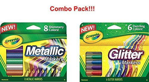 Crayola Glitter Markers, 6 Count (Glitter Markers and Metallic -