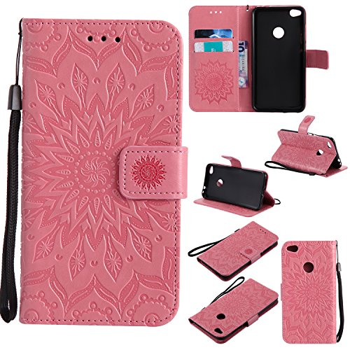 Price comparison product image Huawei P8 Lite 2017 Case,  Honor 8 Lite Case,  Ranyi [Full Mandala Embossed] [Flip Magnetic Wallet] [ID&Card Holder] [Kickstand Feature] Luxury PU Leather Folio Wallet Protective Case (pink)