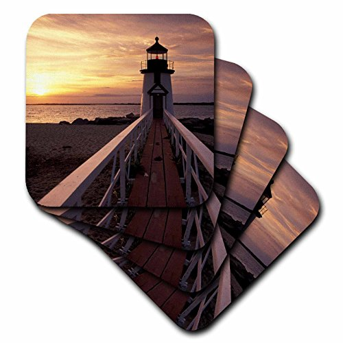 - 3dRose CST_91056_3 Massachusetts, Nantucket, Brant Point Lighthouse-Us22 Wbi0783-Walter Bibikow-Ceramic Tile Coasters, Set of 4