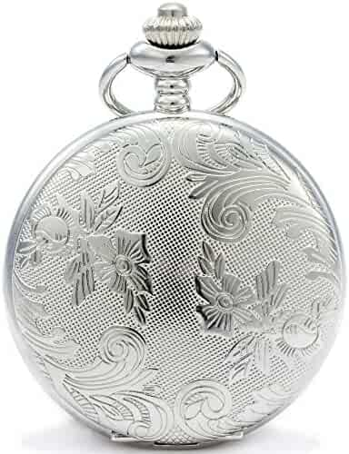SEWOR Bronze Flowers Vintage Quartz Pocket Watch Shell Dial With Two Type Chain(Leather+Metal) (Sliver)