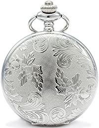 Bronze Flowers Vintage Quartz Pocket Watch Shell Dial with Two Type Chain(Leather+Metal) (Silver case)