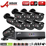 ANRAN Security Camera 8 Channel 1080N Lite AHD DVR Home Surveillance Camera System 8pcs 720p HD Bullet Cameras IR Night Vision Led NO Hard Drive