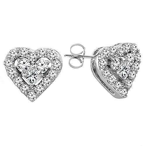 0.55 Carat (ctw) 10K White Gold Round & Princess White Diamond Heart Shaped Earrings by DazzlingRock Collection