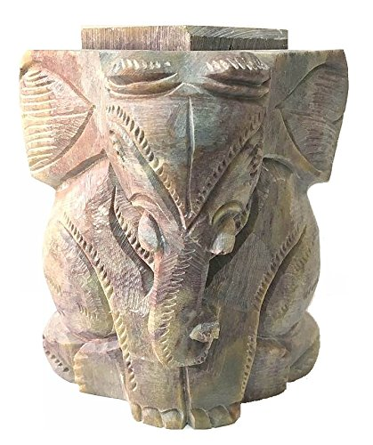 - AUM Natural Soapstone Hand Carved Baby Elephant Candle Tea Light Votive Holder Burner Stand