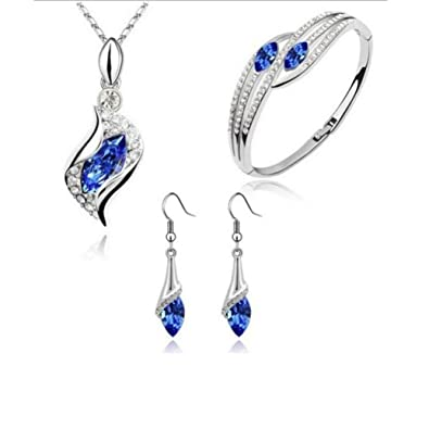0449be3e7eb9 Naturazy Estilo De La Moda Conjunto De Joyas Crystal Chic Eyes Drop  Necklace Necklace Pulsera DIY Amigas Collares Mujer Pendientes Bisuteria  (Azul)  ...